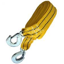 Трос буксировочный ленточный с крюками, 2т, 4,5 м, желтый